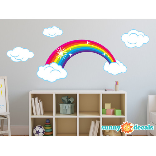 Sunny Decals Sparkling Rainbow Fabric Wall Decal