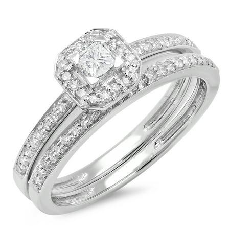 Dazzlingrock Collection 0.55 Carat (ctw) 14K Princess & Round Cut Diamond Ladies Halo Engagement Bridal Ring With Matching Band Set 1/2 CT, White Gold, Size (Charriol Princess Collection Diamond)