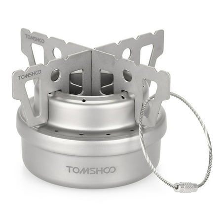 TOMSHOO Outdoor Titanium Alcohol Stove & Rack Combo Set Mini Ultralight Portable Liquid Alcohol Stove with Cross Stand Stove Rack Support