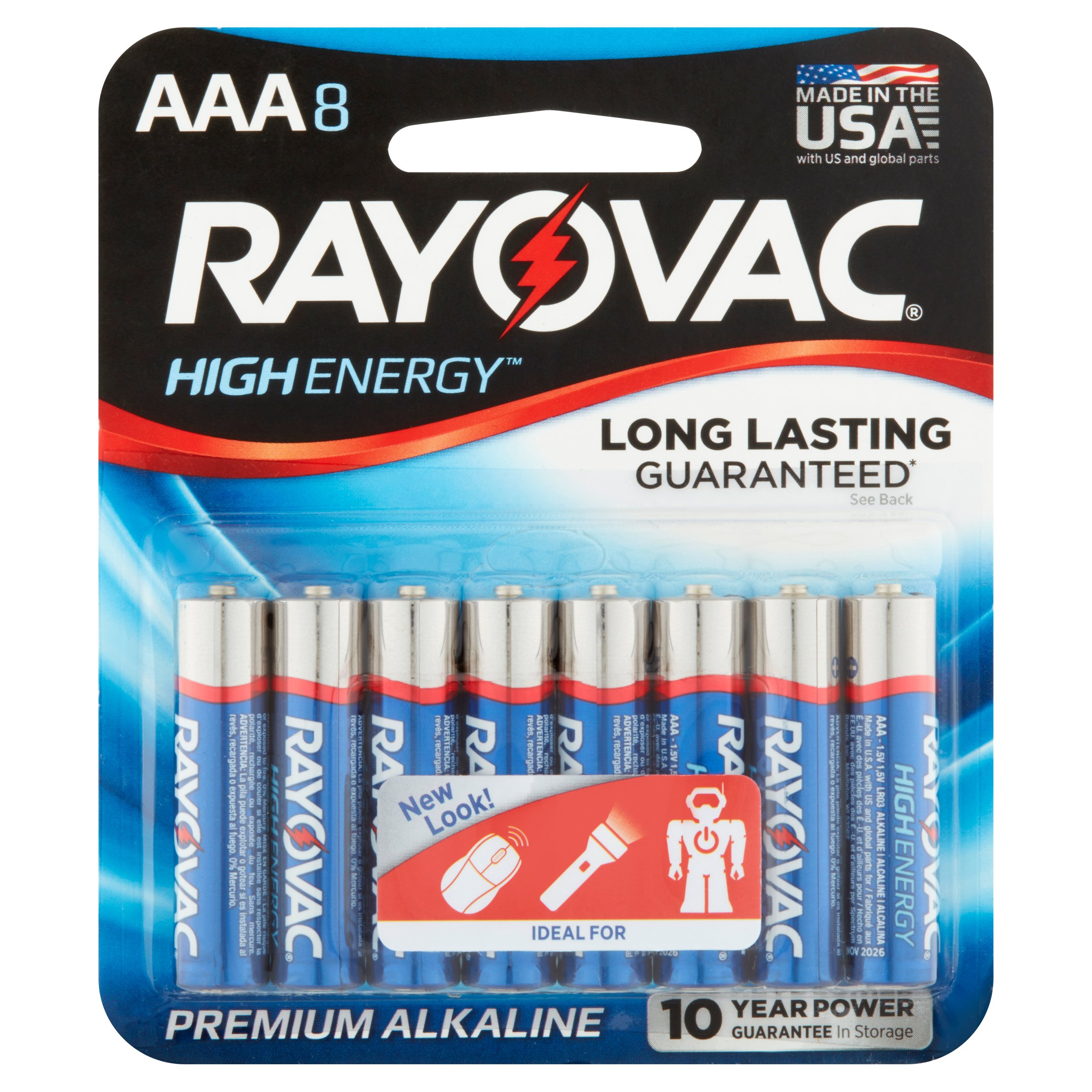 Rayovac High Energy Premium Alkaline AAA 1.5V Battery, 8 count