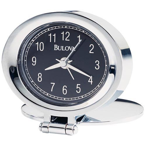 Bulova B6842 Adamo Chrome Finish Travel Alarm Clock