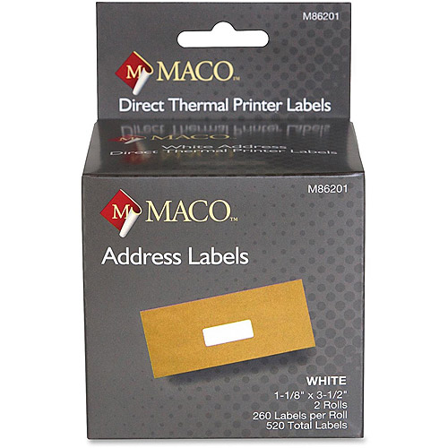 Maco Direct Thermal Printer Labels, 520 per Box