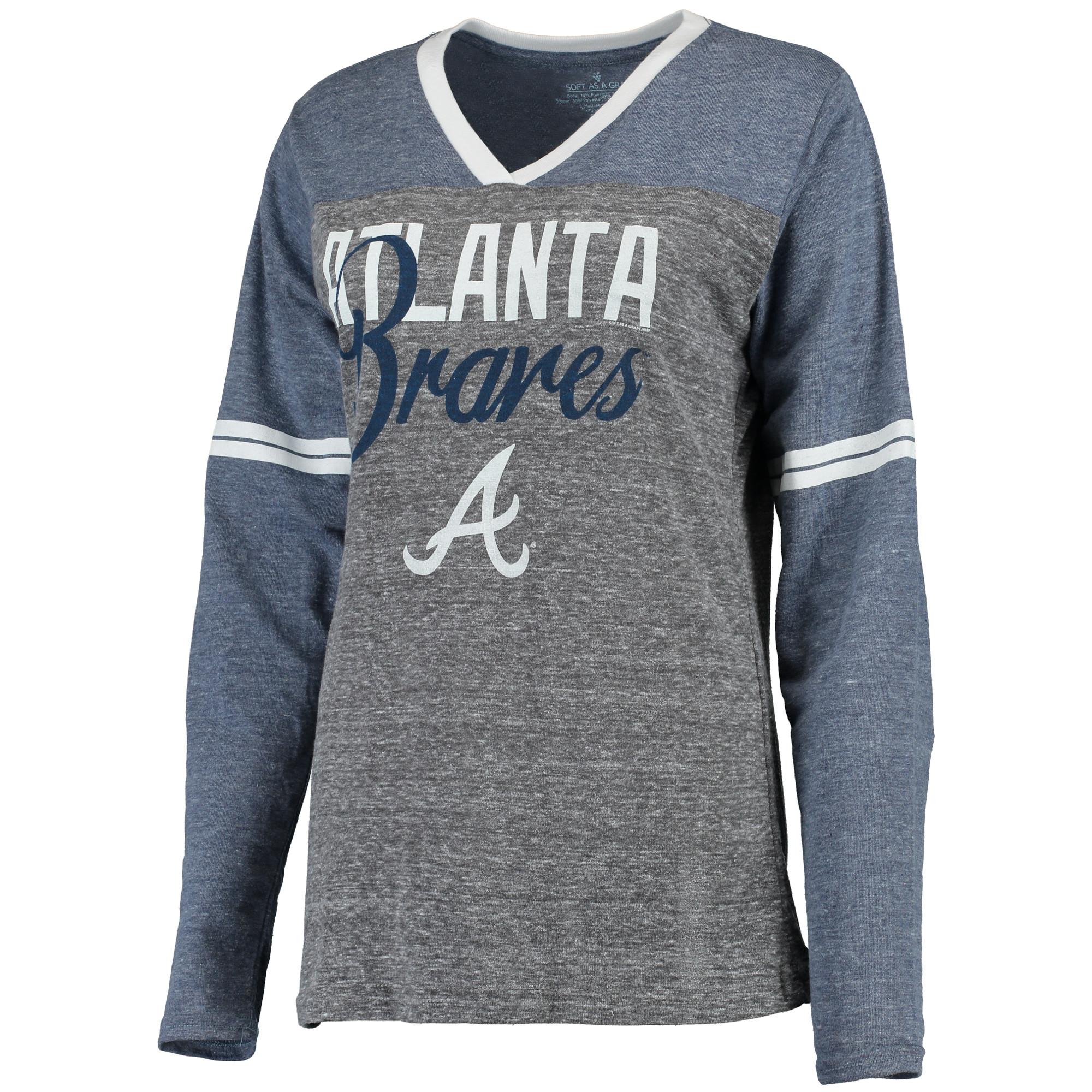 Women's Soft As A Grape Navy/Gray Atlanta Braves Bullpen Color Block V-Neck Long Sleeve T-Shirt