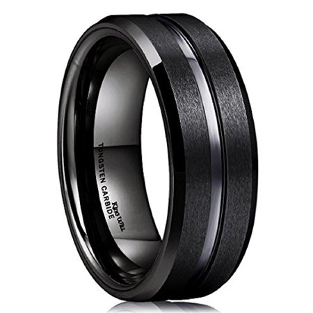 King Will Tungsten Carbide Ring for man 8mm Polished Matte Wedding Band 10.5 - Rings For Boys