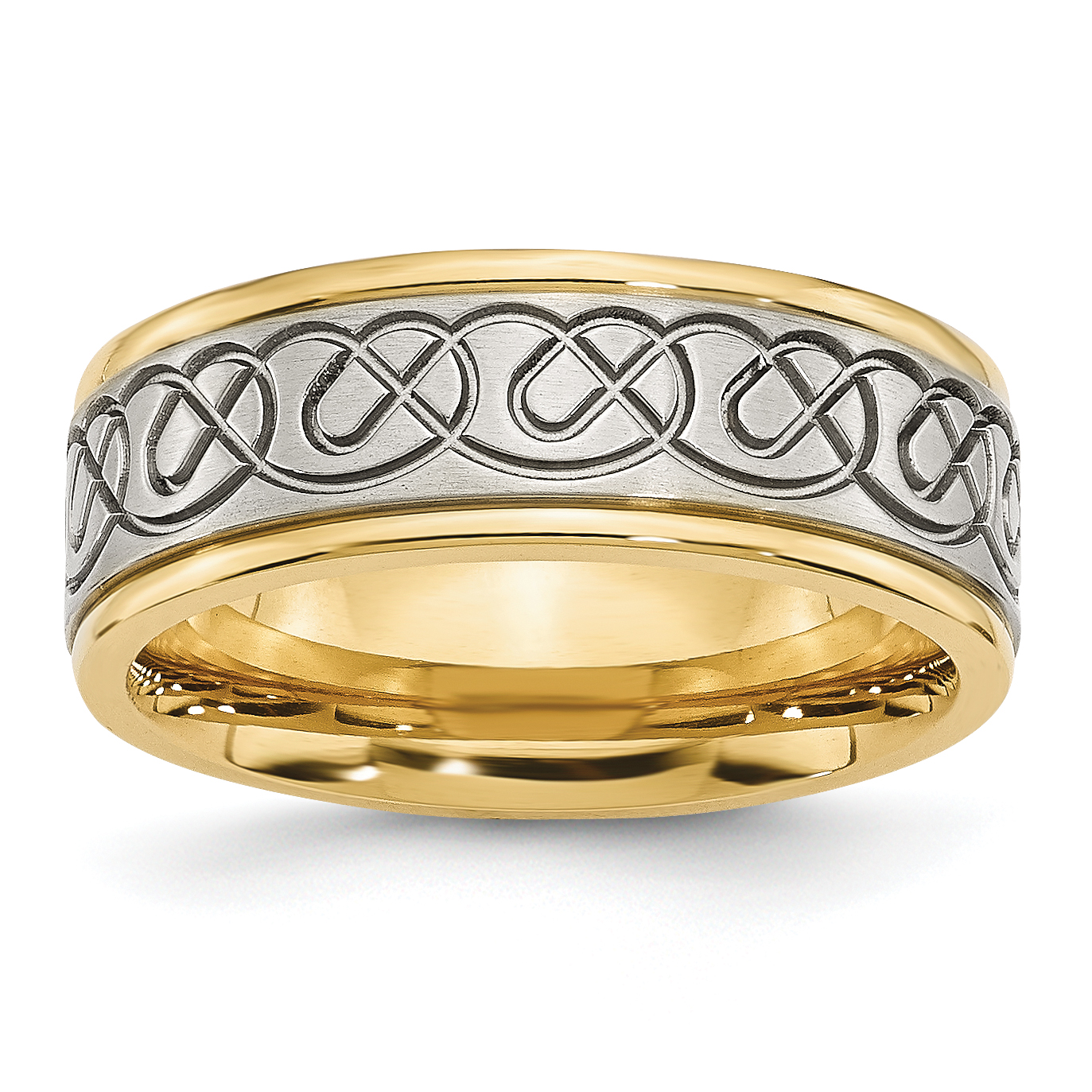 Stainless Steel 8mm Yellow IP-plated Brushed & Polished Band Ring 7 Size - image 6 of 6