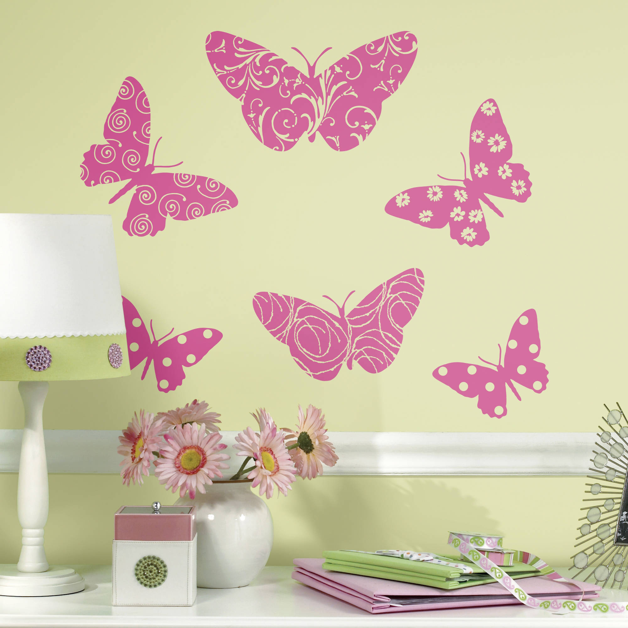Flocked Butterfly  Peel and Stick Giant Wall Decals