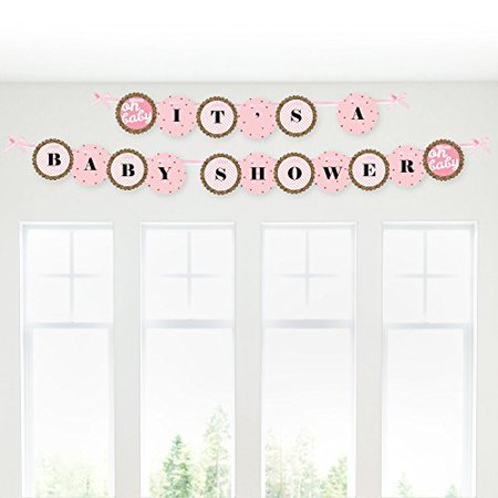 Hello Little One - Pink and Gold - It's A Girl Baby Shower Garland Banner