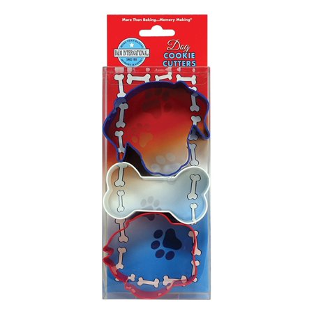 Face Dog Set - R&M International 5158 Dog Cookie Cutters, Dog, Bone, and Paw Print, 3-Piece Set, Includes: 3.5 Blue Dog Face, 3.5 White Dog Bone, and 3 Red Dog Paw By R M International