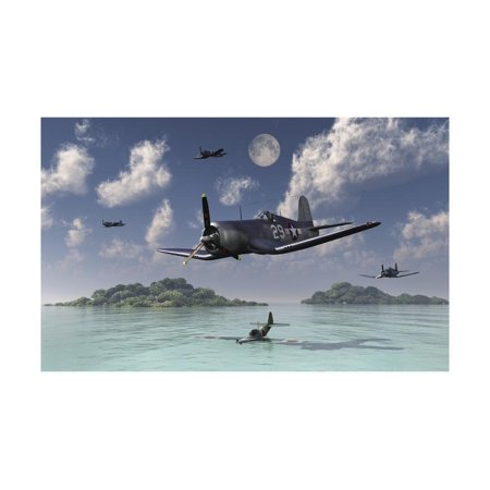F4U Corsairs Flying over a Shot Down Japanese Nakajima Ki-84 Fighter Plane Print Wall Art By Stocktrek
