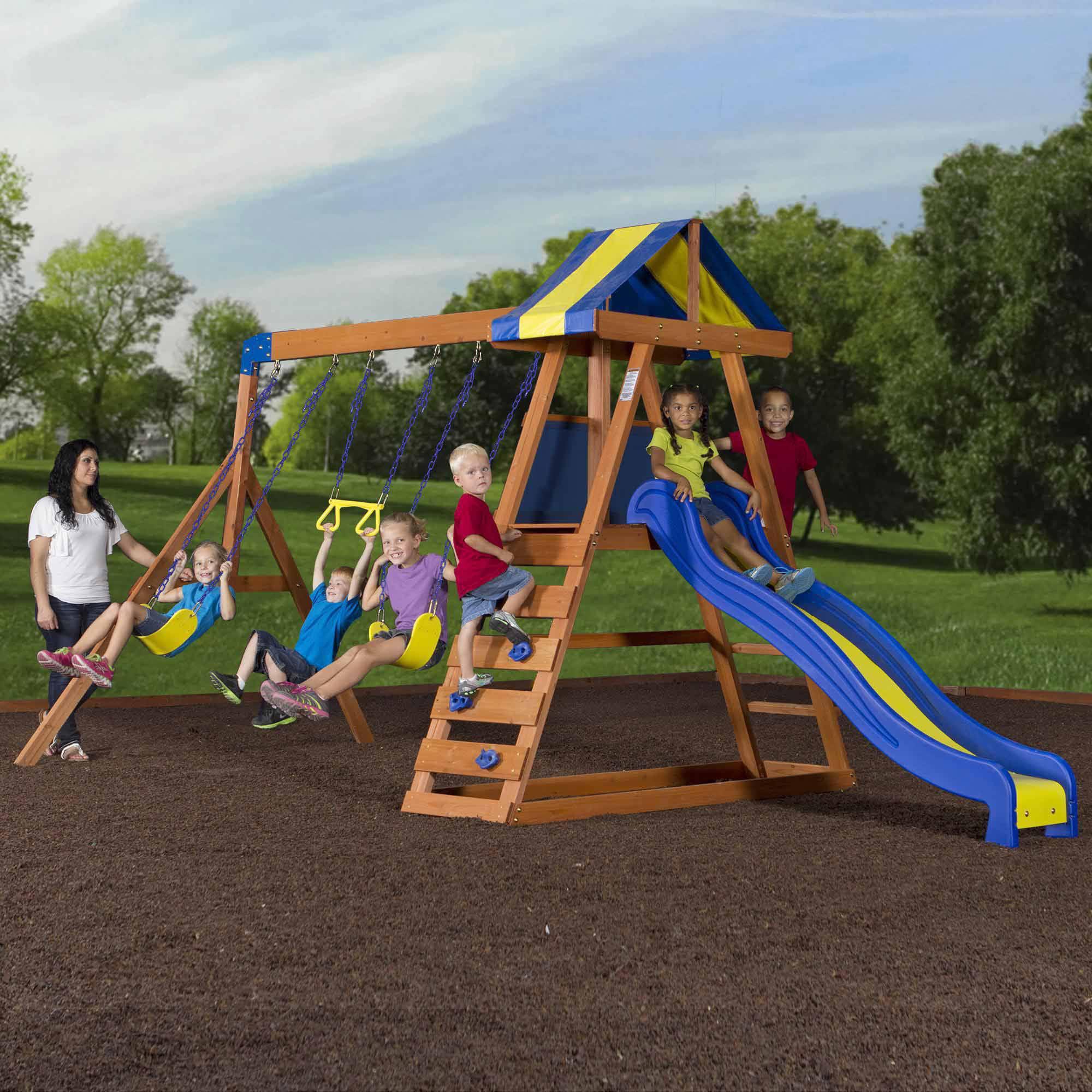Backyard Discovery Dayton Cedar Wooden Swing Set On Popscreen