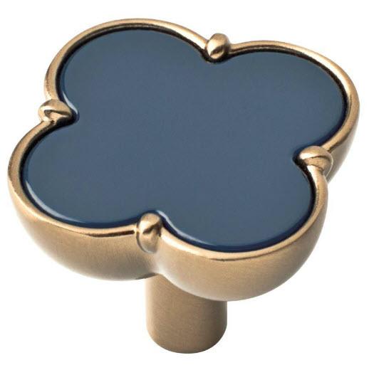 Champagne Bronze Designer Knob with Navy Blue Clover Highlight P33773C-NAV-C