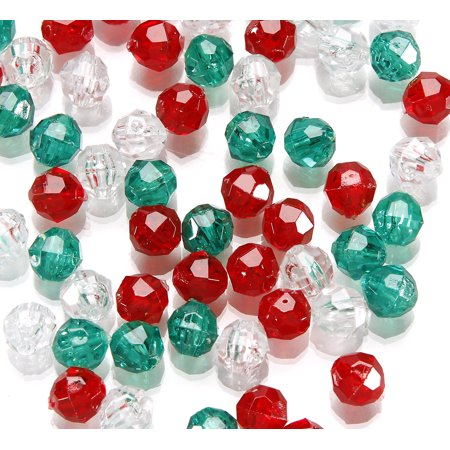 Plastic Beads (Faceted Plastic Christmas Beads: 8mm, 1050)