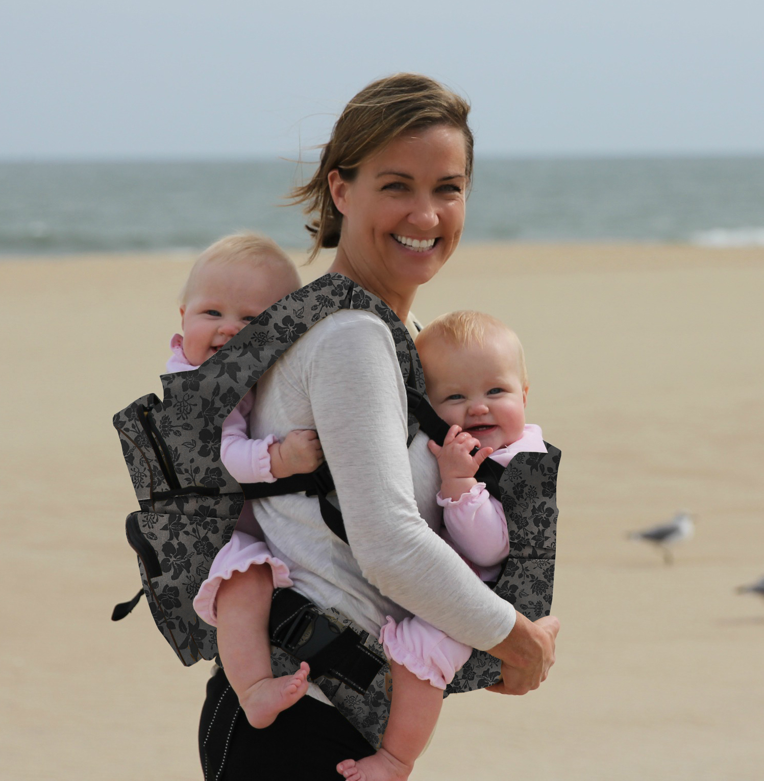 Twingaroo Twin Baby Carrier- Gray Floral