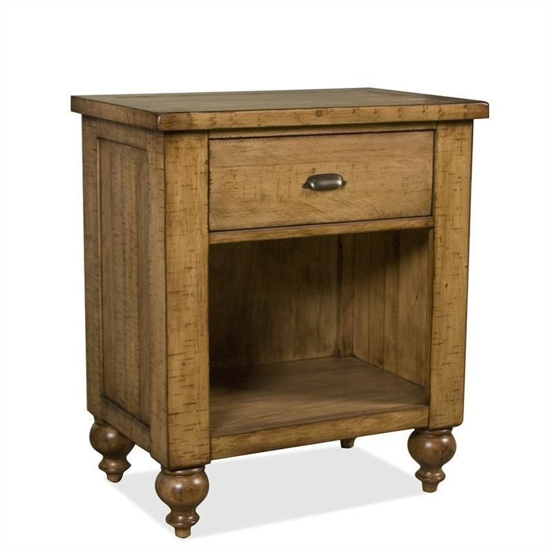 Bon Riverside Furniture Summerhill 1 Drawer Nightstand In Canby Rustic Pine