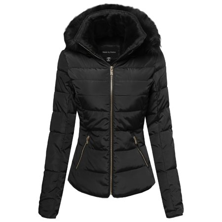 FashionOutfit Women's Quilted Puffer Jacket with Detachable Faux Fur - Long White Hooded Cloak