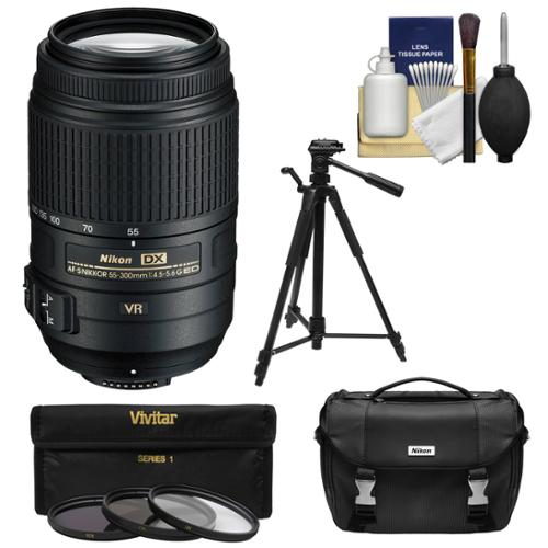 Nikon 55-300mm f/4.5-5.6G VR DX AF-S ED Zoom-Nikkor Lens - Factory Refurbished includes Full 1 Year Warranty + 3 UV/CPL/ND8 Filters + Tripod + Nikon Case + Cleaning Kit