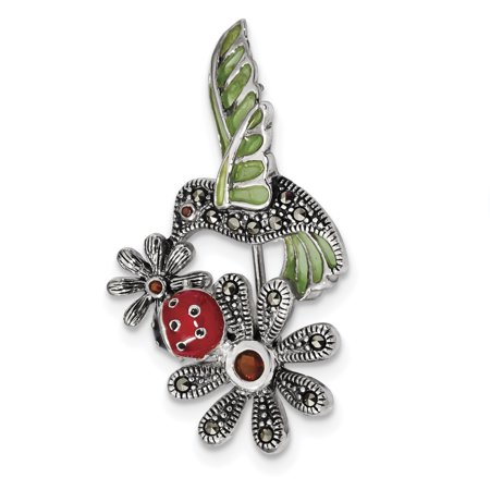 925 Sterling Silver Epoxy/marcasite/red Glass Ladybug Flower Pin Gifts For Women For Her