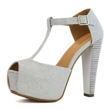 DailyShoes Ankle Platform Sandal Pumps High Low Heel Chunky Buckles Strap T Peep Toe D'Orsay Âleopard â?? Sexy Heeled Sandals Hilary-99 Silver Gl 9.5 Heel Ankle Strap Platform Pump
