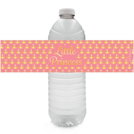 Princess Party Water Bottle Labels, 24ct - Princess Baby Shower Decorations Royal Baby Shower Party Supplies Little Princess Baby Shower Favors- 24 Count Sticker Labels - Royal Baby Shower Favors