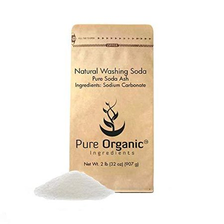 Natural Washing Soda (2 lb.) by Pure Organic Ingredients, Also Called Soda Ash or Sodium Carbonate, Eco-Friendly Packaging, Multi-Purpose Cleaner, Water Softener, - Italian Soda Ingredients