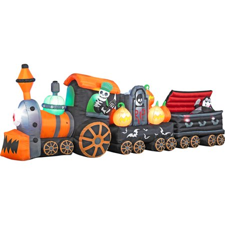 6' Tall x 17' Long Airblown Halloween Inflatable Skeleton Train with Rising Ghost