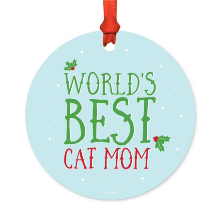 Funny Metal Christmas Ornament, World's Best Cat Mom, Holiday Mistletoe, Includes Ribbon and Gift