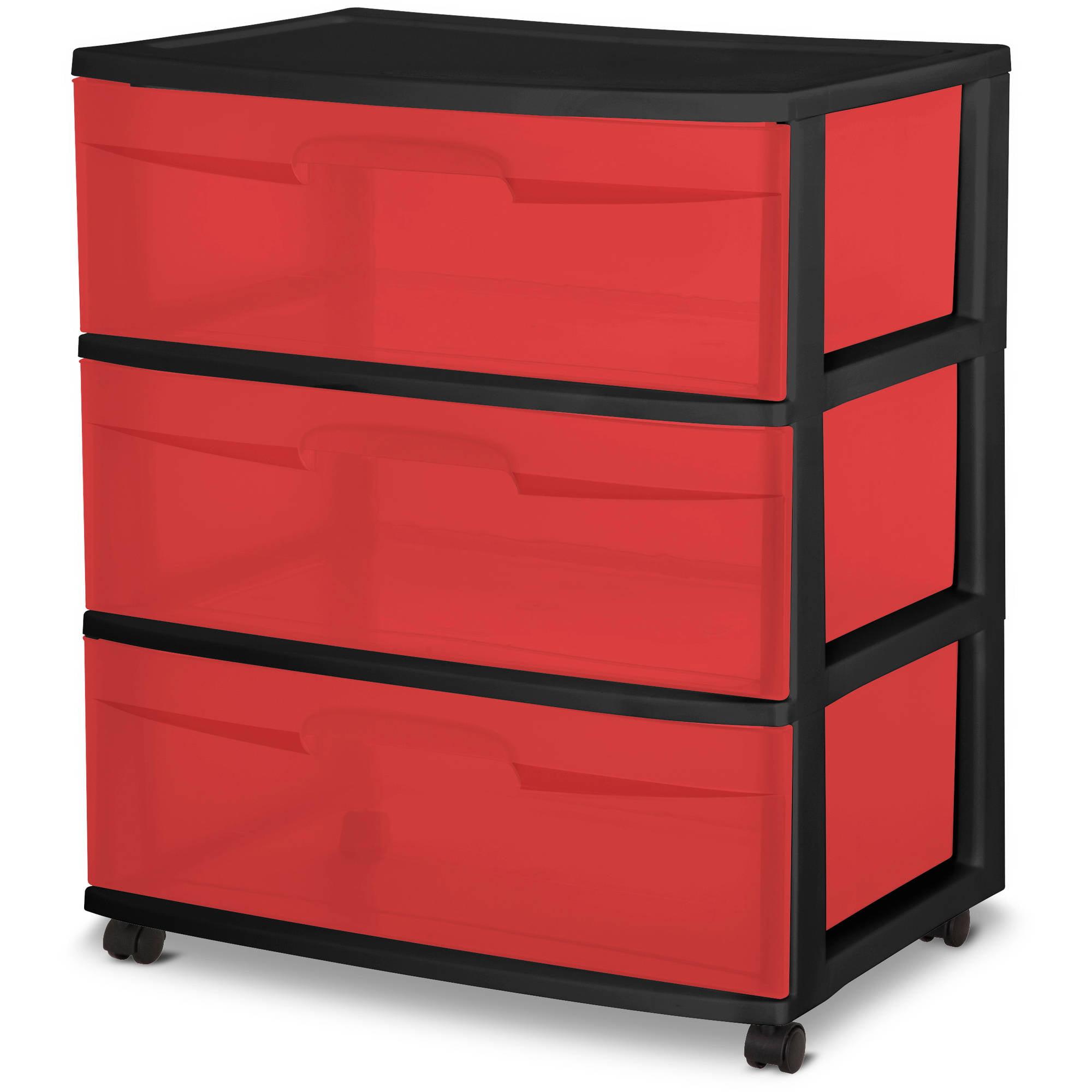 High Quality Sterilite 3 Drawer Wide Cart, Fearless Red Tint/Black Frame   Walmart.com