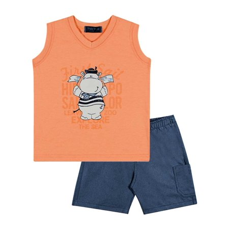67ffd5f82c47 Pulla Bulla - Baby Boy Outfit Graphic Tank Top V-Neck and Shorts Set ...