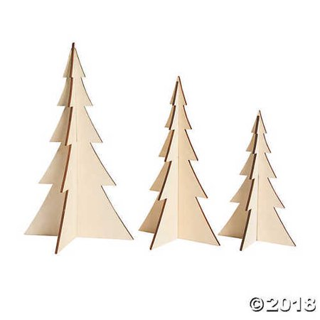 DIY Unfinished Wood 3D Stand-Up Trees](Wood Tree Slices)