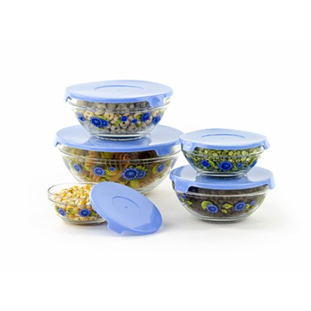 10 Pcs Glass Mixing Bowls Glass Food Storage Containers Blue Sunflower ()