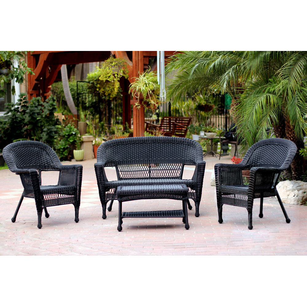 Jeco 4pc Black Wicker Conversation Set