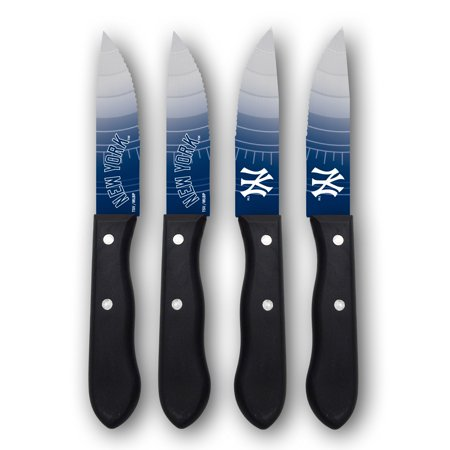 New York Yankees Woodrow 4-Piece Stainless Steel Steak Knife Set - No