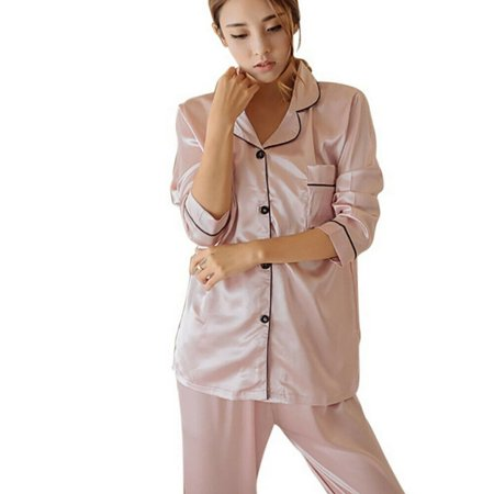 Women Ladies Satin Silk Pyjama Set Silky Summer Lounge wear Pajamas long sleeve pjs Long John Pjs
