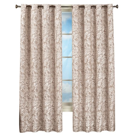 "Tropical Fern Pattern Grommet Top Curtain Panel, 52""X84"", Sand"