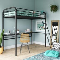 DHP Metal Loft Bed with Desk, Twin Size Frame, Black Metal/Black Desk