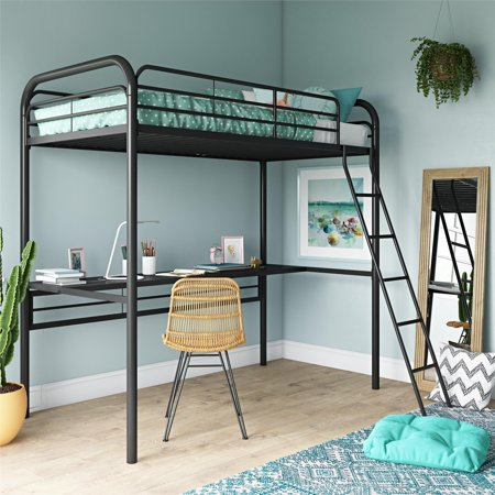 DHP Metal Loft Bed with Desk, Twin Size Frame, Black Metal/Black Desk Full Size Bunk Bed Desk