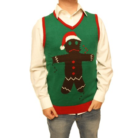 Mens Christmas Vests - Ugly Christmas Sweater Men's Gingerbread Man Cookie Vest Xmas Sweatshirt