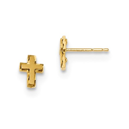 Roy Rose Jewelry 14K Yellow Gold Madi K Satin & Polished Diamond-cut Cross Post