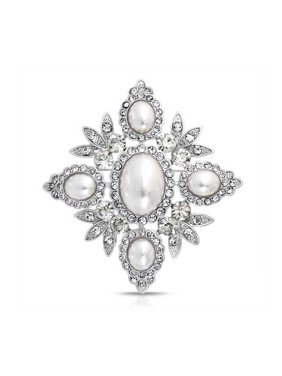 Bridal Crystal White Fashion Simulated Pearl Large Statement Leaf Flower Brooch Pin For Women For Mother Silver Plated