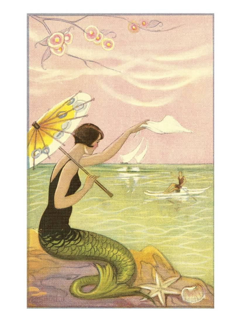 Mermaid with Parasol Waving to Rower Print Wall Art - Walmart.com