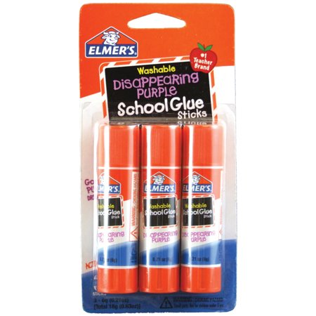 Elmer's Disappearing Purple Washable School Glue Sticks, 0.21 oz, 3 Count