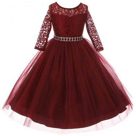 Big Girls' Dress Lace Top Rhinestones Tulle Holiday Christmas Party Flower Girl Dress Burgundy Size 8 (M37BK2)