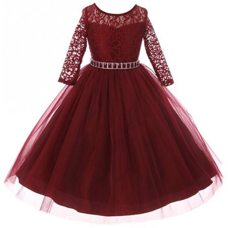 Big Girls' Dress Lace Top Rhinestones Tulle Holiday Christmas Party Flower Girl Dress Burgundy Size 8 (M37BK2) (Holiday Dresses Girls)