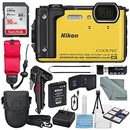 Nikon COOLPIX W300 Digital Camera (Yellow) w/ WiFi and Adventure Bundle with 16GB + Case + Deluxe Starters Kit + Floating Strap + FiberTique Cleaning Cloth + More ()