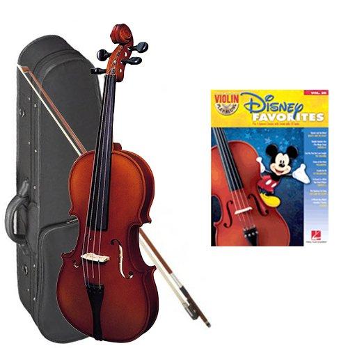 Strunal 220 Student Violin Disney Favorites Play Along Pack - 1/2 Size European Violin w/Case & Play Along Book
