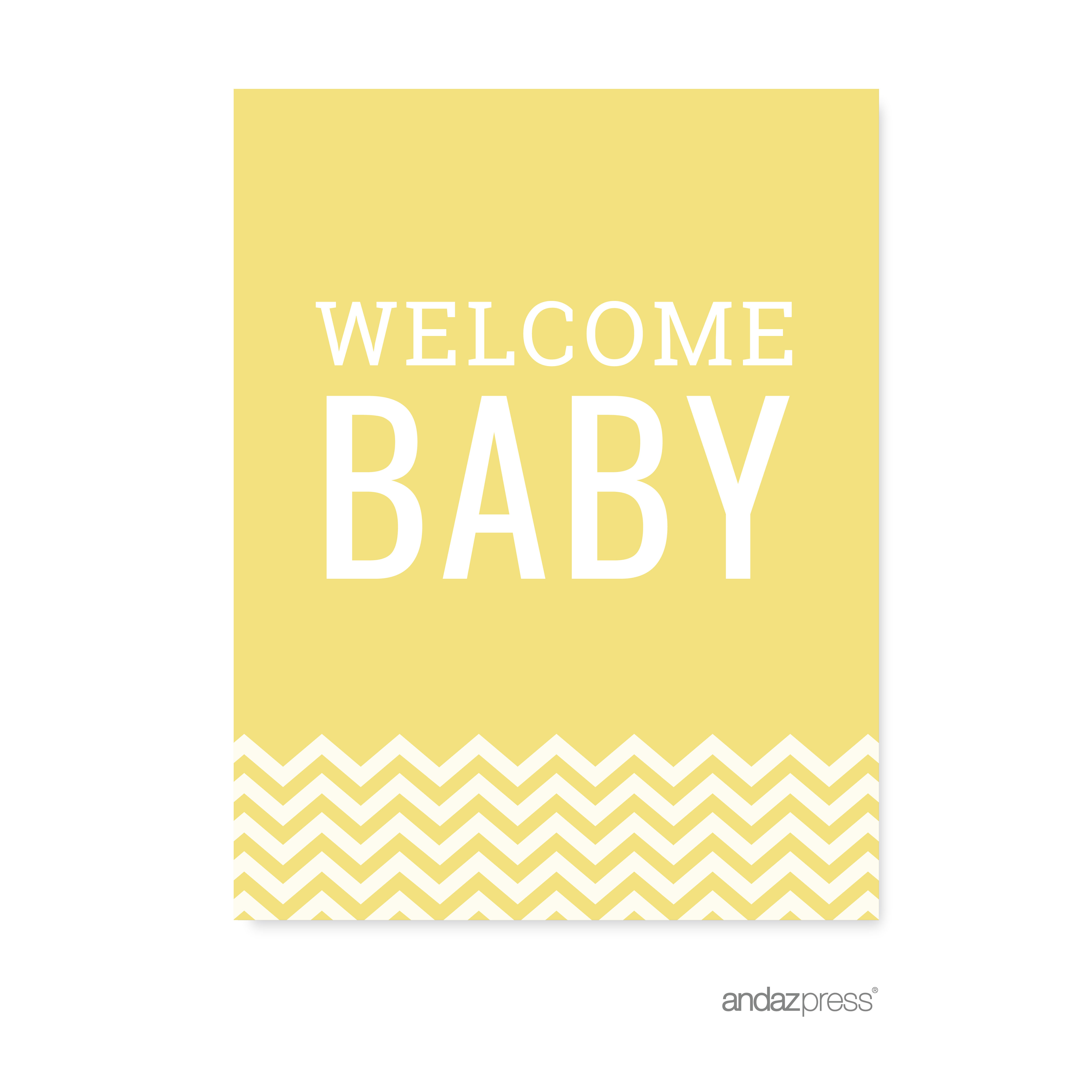 Yellow Chevron Print Baby Shower Party Signs & Banner Decorations, 20-Pack
