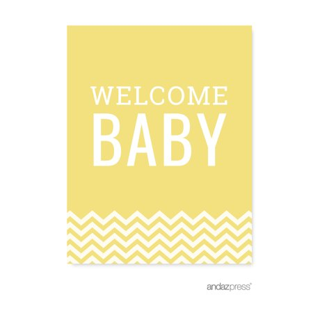 Yellow Chevron Print Baby Shower Party Signs & Banner Decorations,