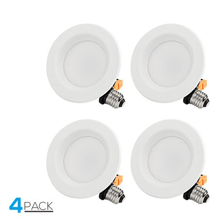TORCHSTAR 4 Pack 4 Inch Dimmable Recessed LED Downlight with Baffle Trim, 10W (65W Equiv.), CRI 90, ETLListed, 2700K Soft White, 700lm, Retrofit Lighting Fixture
