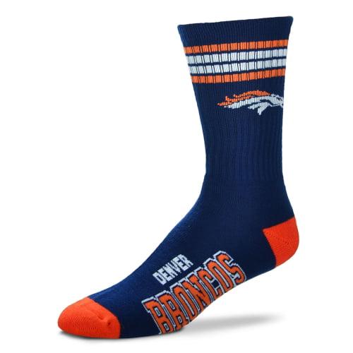 Denver Broncos For Bare Feet 4-Stripe Deuce Team Color Performance Crew Socks - Men 10-13