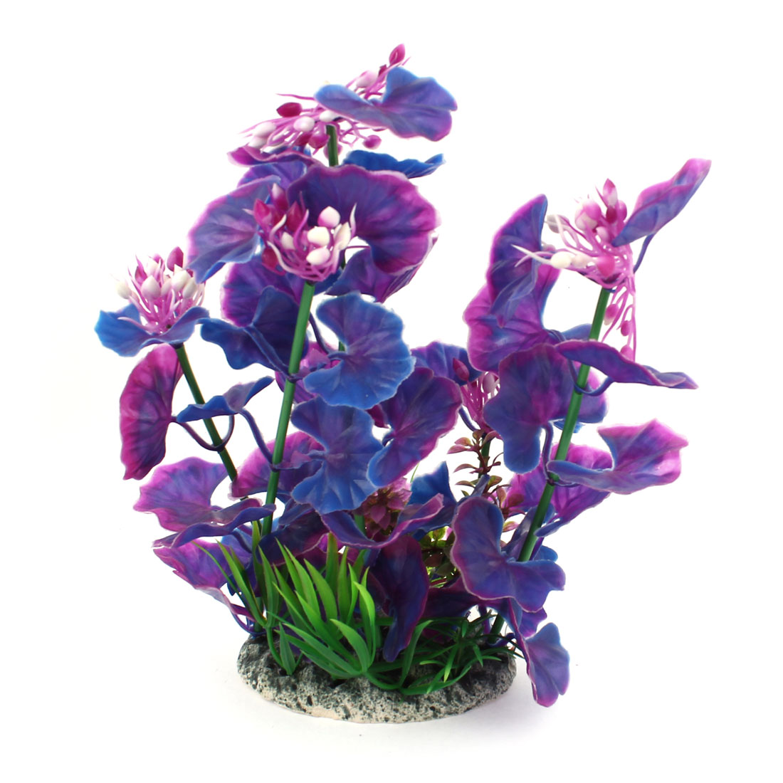 "9.5"" Height Aquarium Plastic Aquatic Plant Adorn Green Purple Blue White"